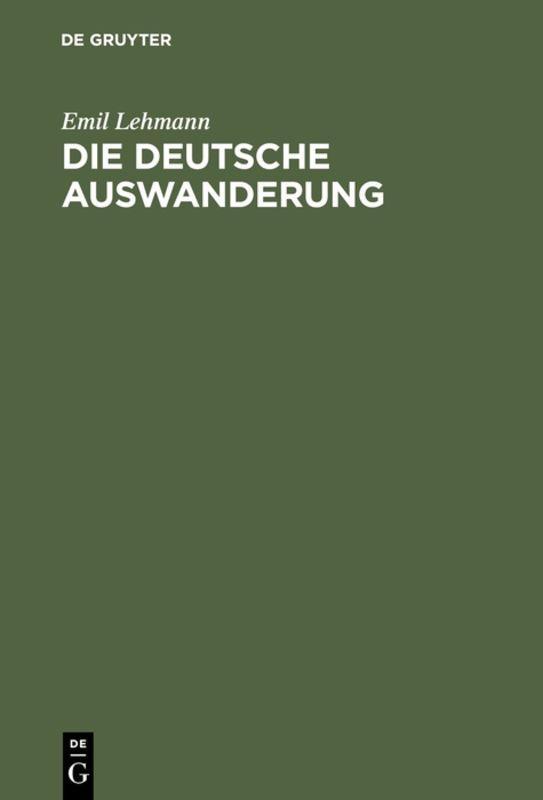 Cover-Bild Die deutsche Auswanderung