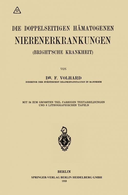 Cover-Bild Die doppelseitigen hämatogenen Nierenerkrankungen (Brightsche Krankheit)