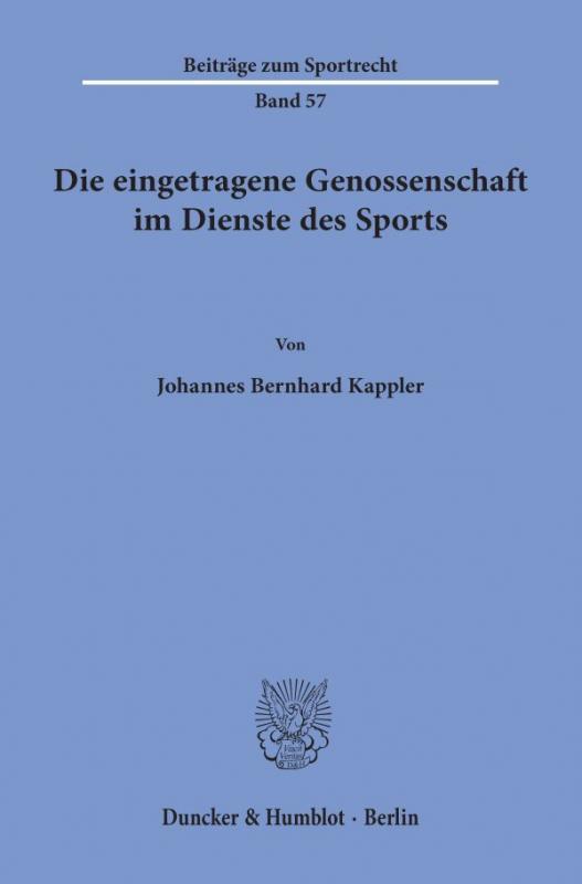 Cover-Bild Die eingetragene Genossenschaft im Dienste des Sports.