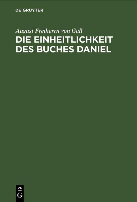 Cover-Bild Die Einheitlichkeit des Buches Daniel