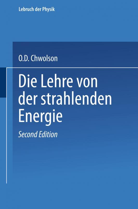 Cover-Bild Die Lehre von der strahlenden Energie