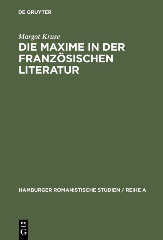 Cover-Bild Die Maxime in der französischen Literatur
