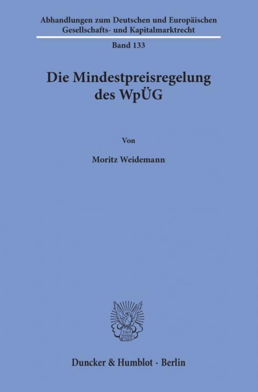 Cover-Bild Die Mindestpreisregelung des WpÜG.