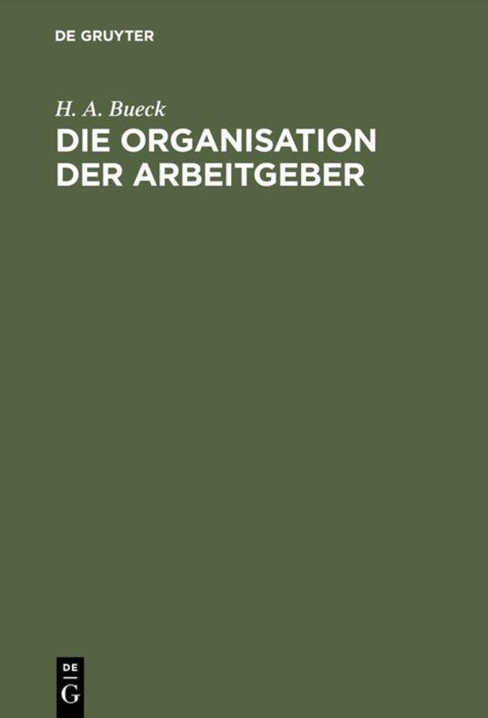 Cover-Bild Die Organisation der Arbeitgeber