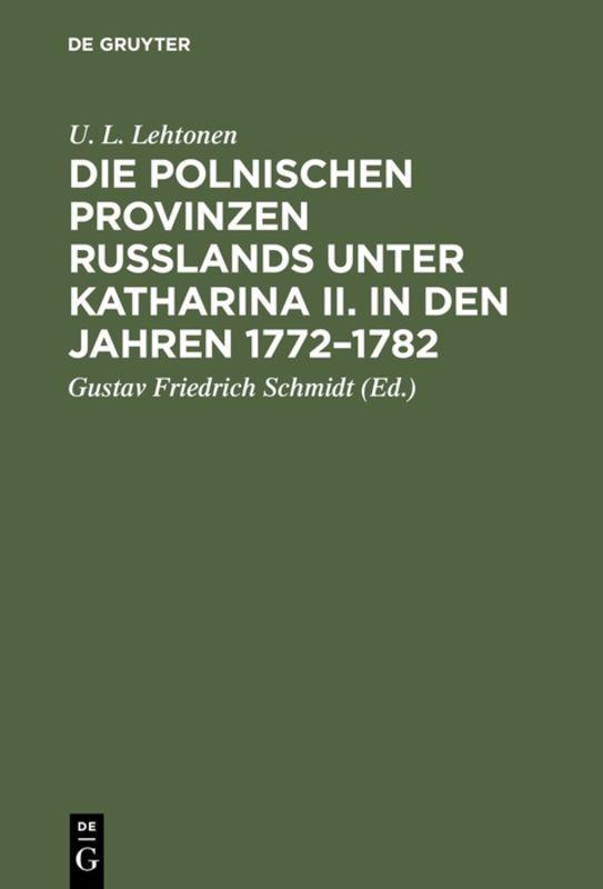Cover-Bild Die polnischen Provinzen Russlands unter Katharina II. in den Jahren 1772–1782
