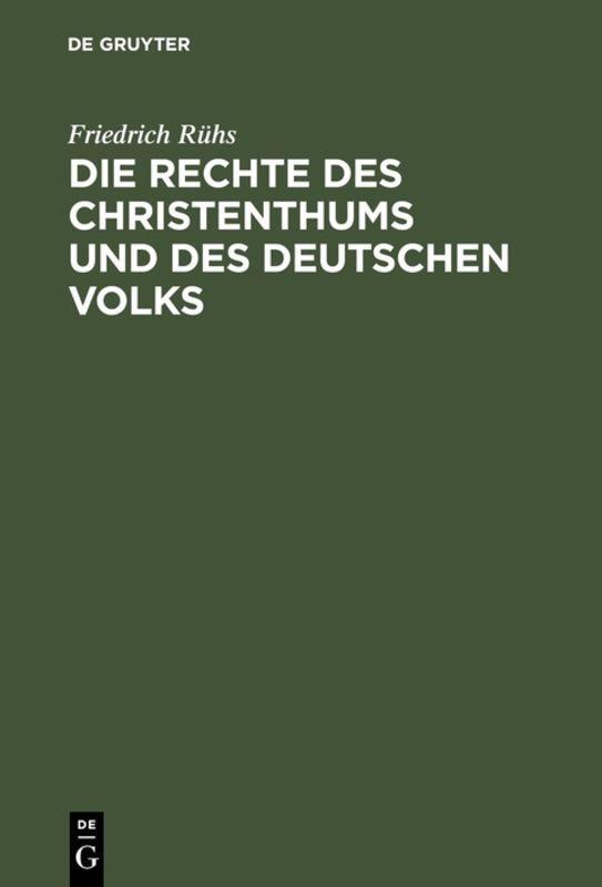 Cover-Bild Die Rechte des Christenthums und des deutschen Volks