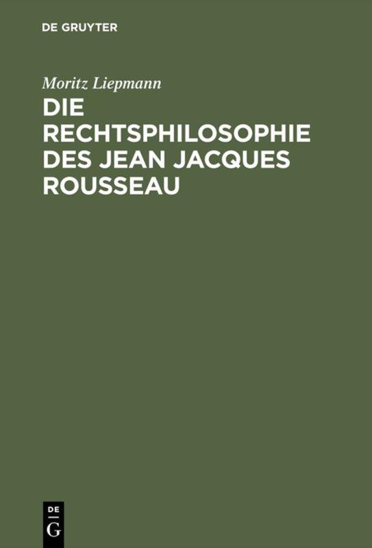 Cover-Bild Die Rechtsphilosophie des Jean Jacques Rousseau