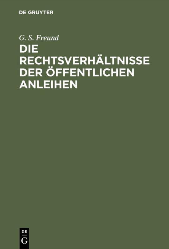 Cover-Bild Die Rechtsverhältnisse der Öffentlichen Anleihen