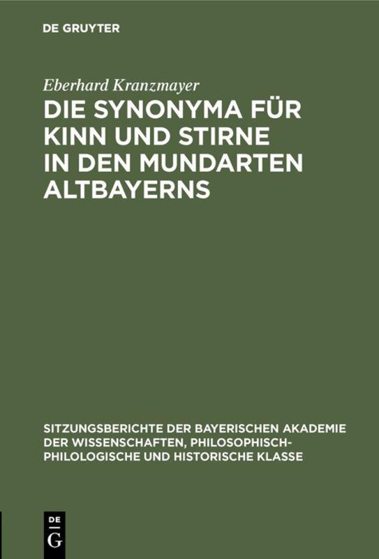 Cover-Bild Die Synonyma für Kinn und Stirne in den Mundarten Altbayerns