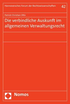 Cover-Bild Die verbindliche Auskunft im allgemeinen Verwaltungsrecht