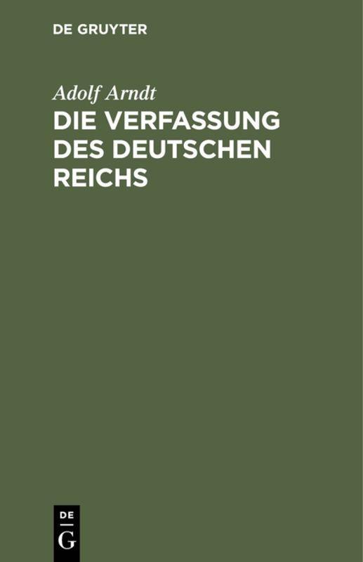 Cover-Bild Die Verfassung des Deutschen Reichs