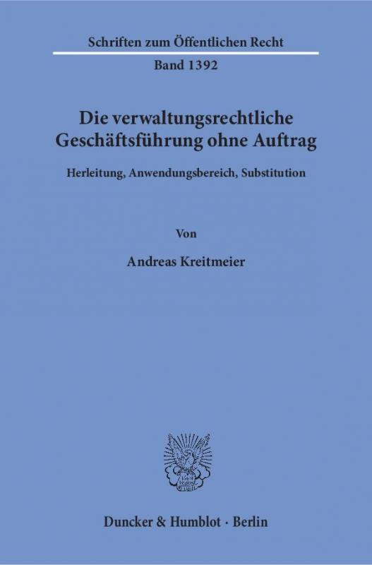 Cover-Bild Die verwaltungsrechtliche Geschäftsführung ohne Auftrag.