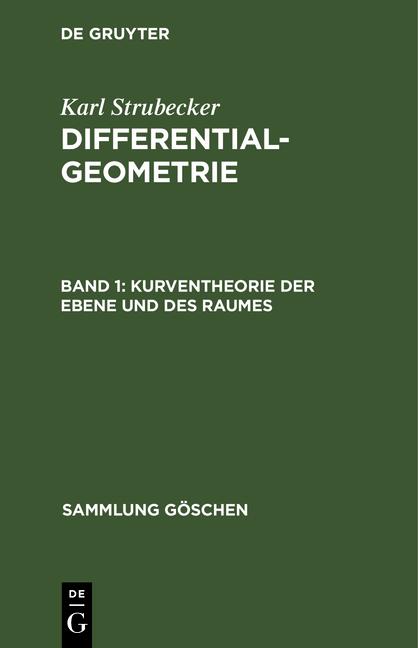Cover-Bild Differentialgeometrie / Kurventheorie der Ebene und des Raumes