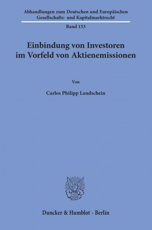 Cover-Bild Einbindung von Investoren im Vorfeld von Aktienemissionen.