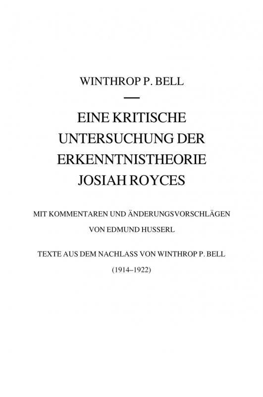 Cover-Bild Eine kritische Untersuchung der Erkenntnistheorie Josiah Royces
