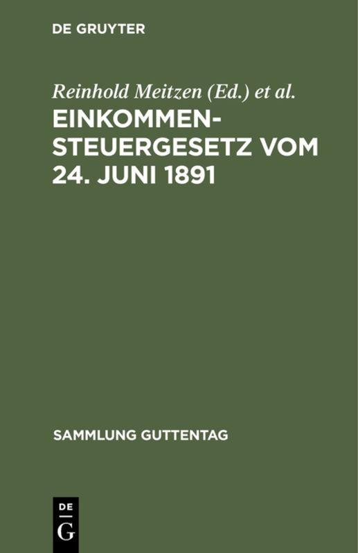 Cover-Bild Einkommensteuergesetz vom 24. Juni 1891