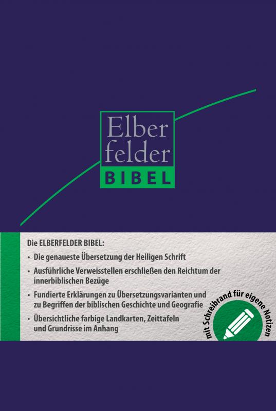 Cover-Bild Elberfelder Bibel - mit Schreibrand und Griffregister, ital. Kunstleder dunkelbl