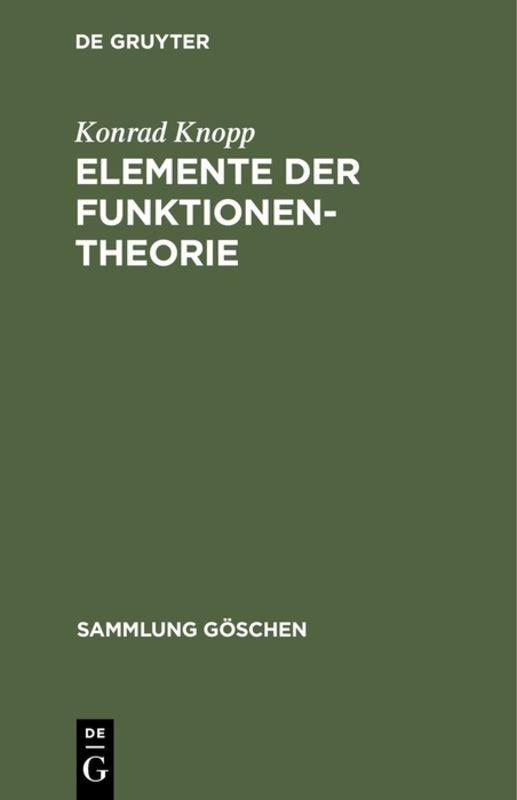 Cover-Bild Elemente der Funktionentheorie