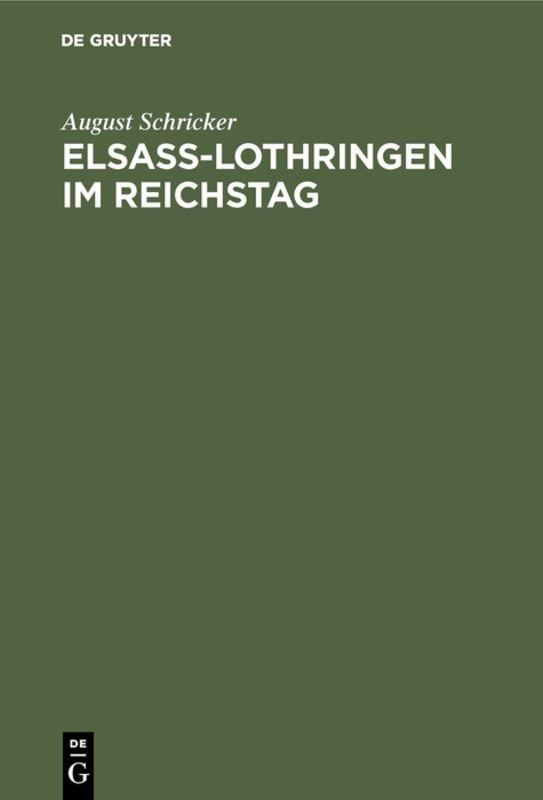 Cover-Bild Elsass-Lothringen im Reichstag