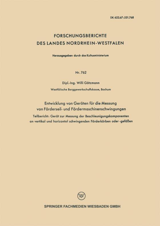 Cover-Bild Entwicklung von Geräten für die Messung von Förderseil- und Fördermaschinenschwingungen