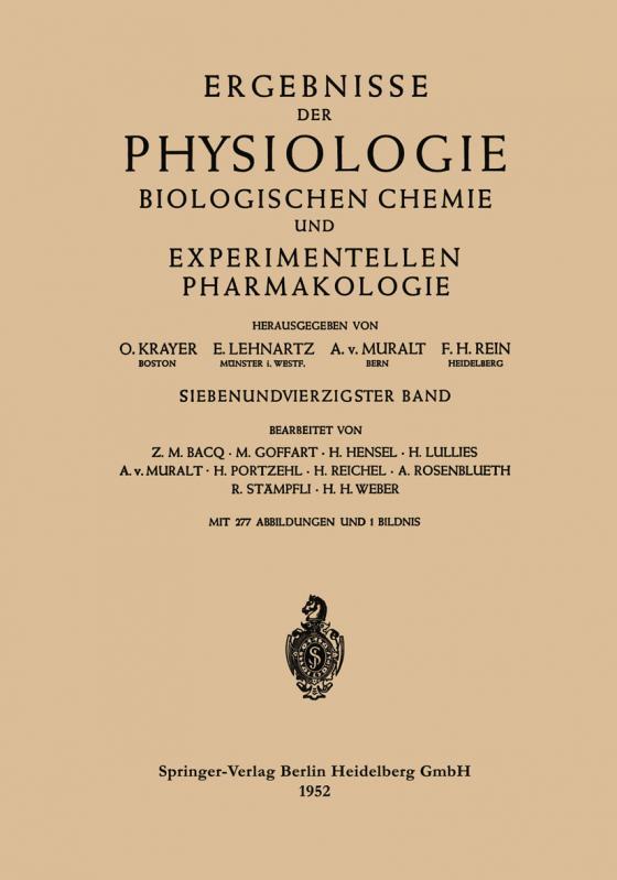 Cover-Bild Ergebnisse der Physiologie Biologischen Chemie und Experimentellen Pharmakologie