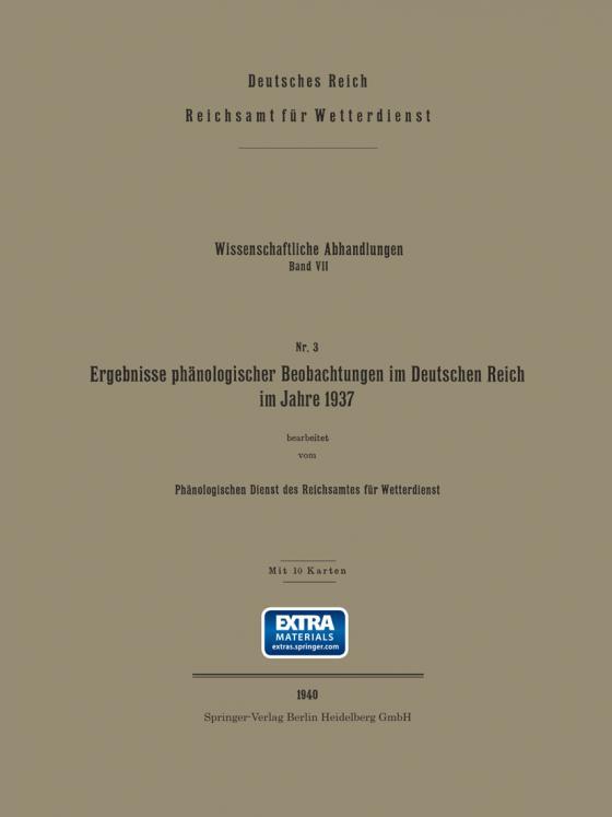 Cover-Bild Ergebnisse phänologischer Beobachtungen im Deutschen Reich im Jahre 1937
