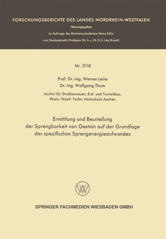 Cover-Bild Ermittlung und Beurteilung der Sprengbarkeit von Gestein auf der Grundlage des spezifischen Sprengenergieaufwandes