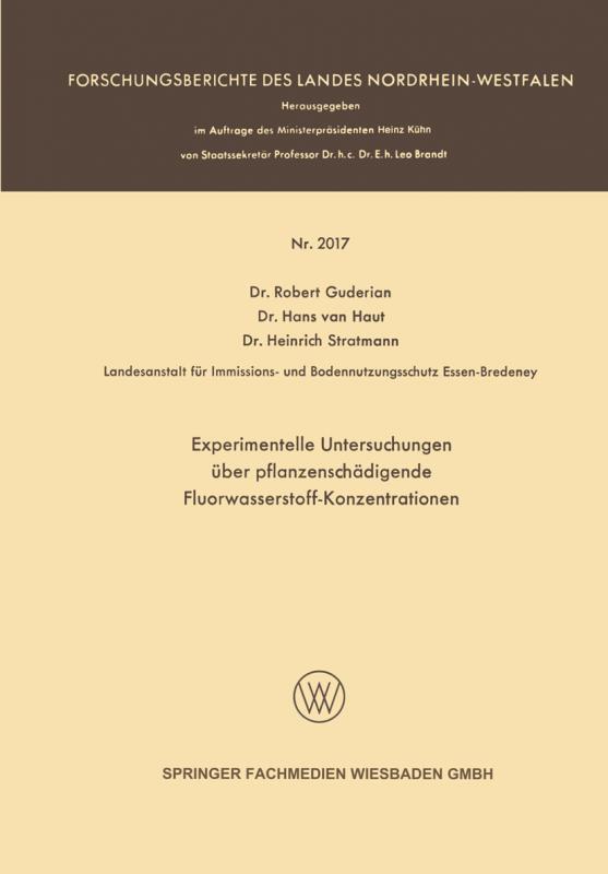 Cover-Bild Experimentelle Untersuchungen über pflanzenschädigende Fluorwasserstoff-Konzentrationen