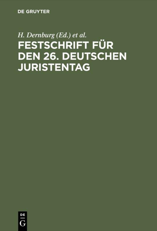 Cover-Bild Festschrift für den 26. Deutschen Juristentag
