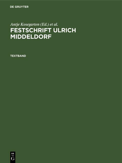 Cover-Bild Festschrift Ulrich Middeldorf