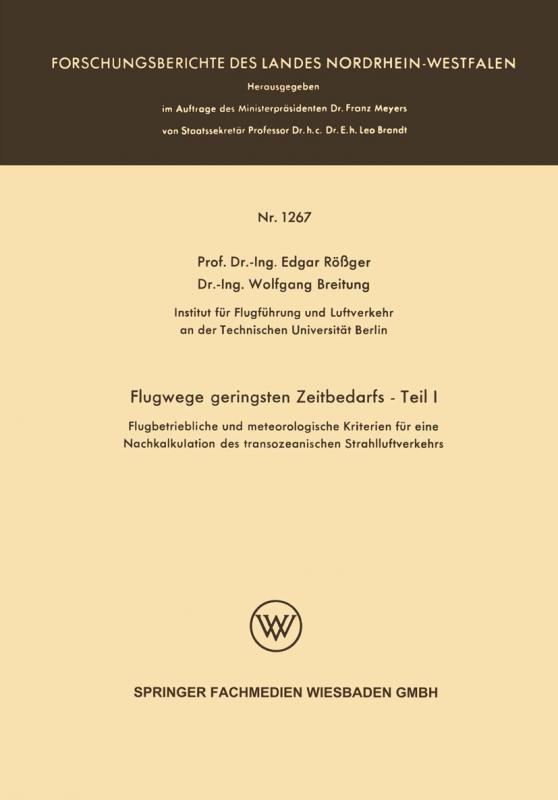 Cover-Bild Flugwege geringsten Zeitbedarfs — Teil I