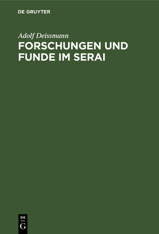 Cover-Bild Forschungen und Funde im Serai