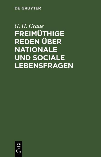 Cover-Bild Freimüthige Reden über nationale und sociale Lebensfragen