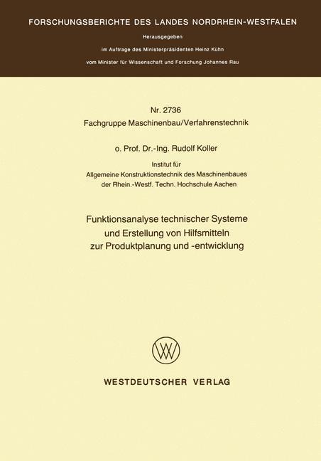 Cover-Bild Funktionsanalyse technischer Systeme und Erstellung von Hilfsmitteln zur Produktplanung und -entwicklung