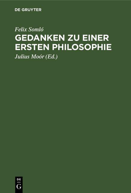 Cover-Bild Gedanken zu einer ersten Philosophie