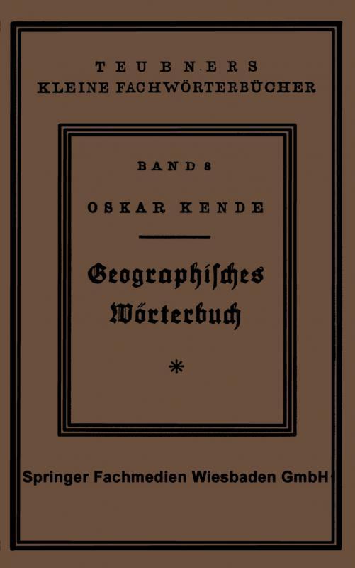 Cover-Bild Geographisches Wörterbuch