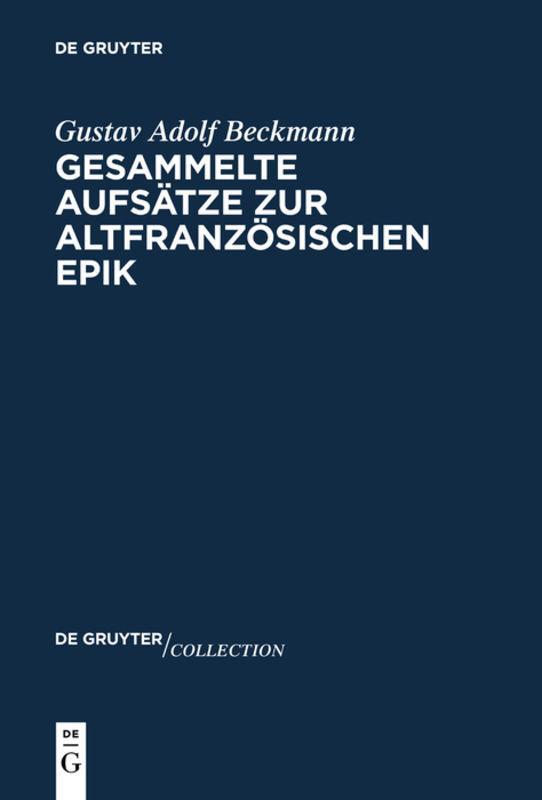 Cover-Bild Gesammelte Aufsätze zur altfranzösischen Epik