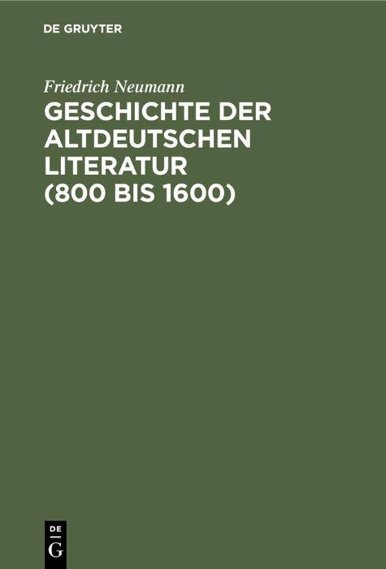 Cover-Bild Geschichte der altdeutschen Literatur (800 bis 1600)