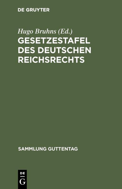 Cover-Bild Gesetzestafel des deutschen Reichsrechts