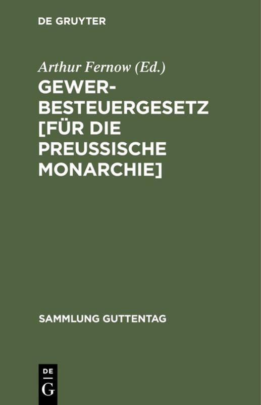 Cover-Bild Gewerbesteuergesetz [für die Preussische Monarchie]