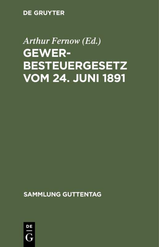 Cover-Bild Gewerbesteuergesetz vom 24. Juni 1891