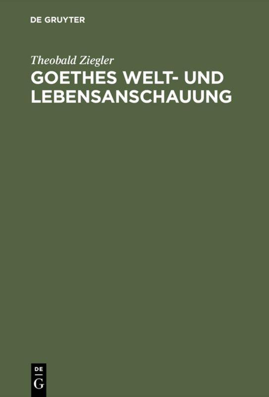 Cover-Bild Goethes Welt- und Lebensanschauung