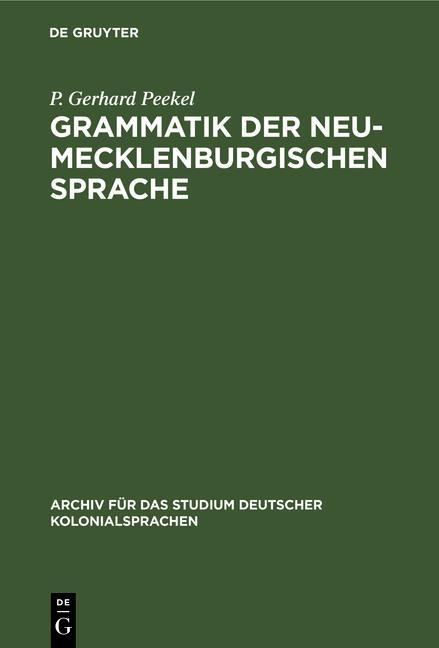 Cover-Bild Grammatik der Neu-Mecklenburgischen Sprache