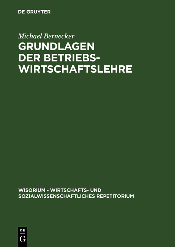 Cover-Bild Grundlagen der Betriebswirtschaftslehre
