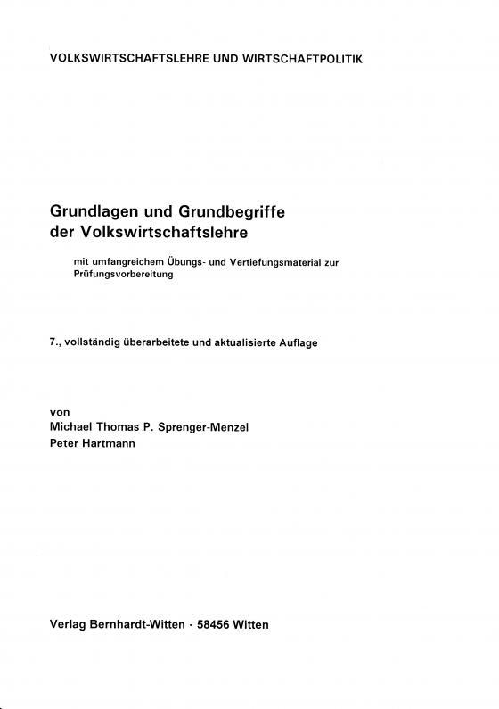 Cover-Bild Grundlagen und Grundbegriffe der Volkswirtschaftslehre