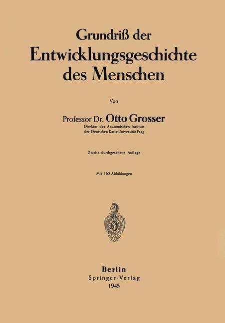 Cover-Bild Grundriß der Entwicklungsgeschichte des Menschen