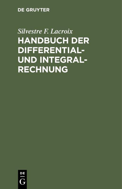Cover-Bild Handbuch der Differential- und Integral-Rechnung