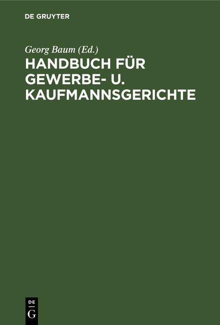 Cover-Bild Handbuch für Gewerbe- u. Kaufmannsgerichte