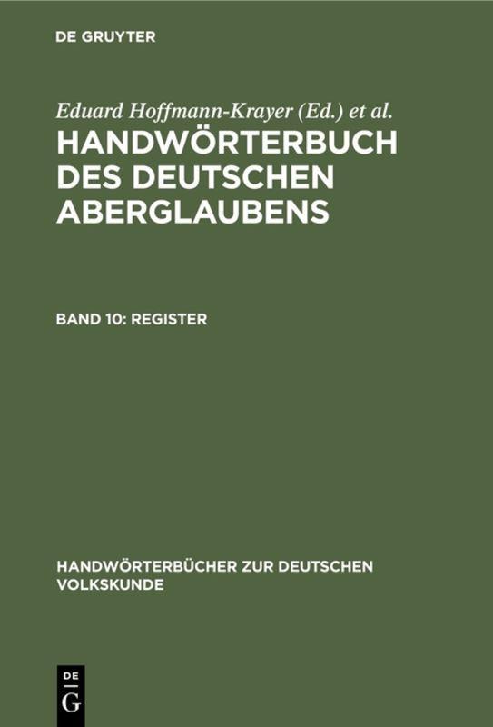 Cover-Bild Handwörterbuch des deutschen Aberglaubens / Register