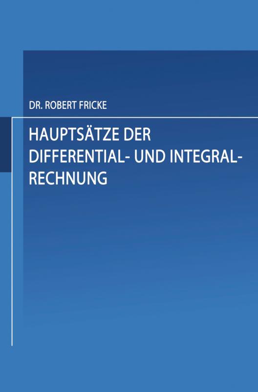 Cover-Bild Hauptsätze der Differential- und Integral-Rechnung
